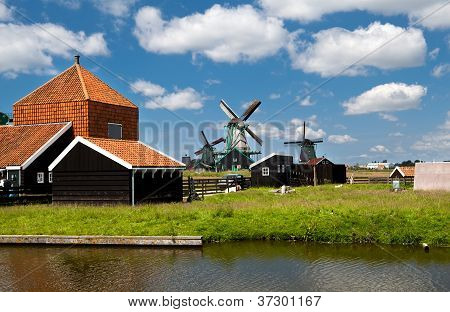 Windmills In Dutch Village