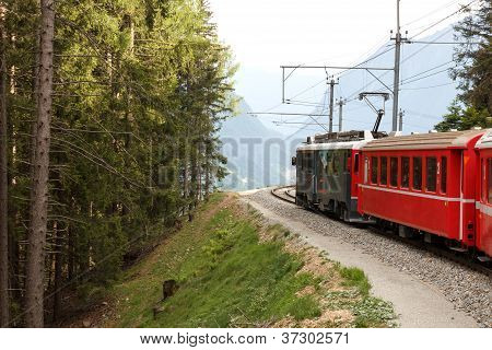 Swiss Mountain Train Bernina Express