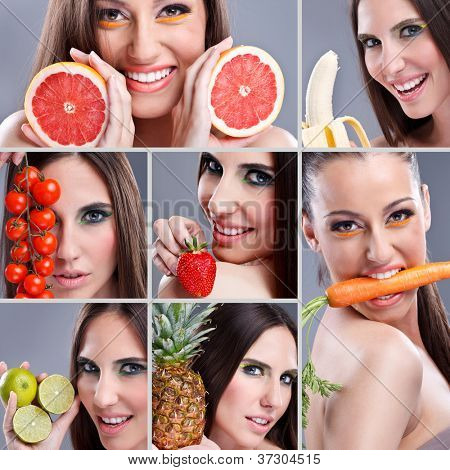 Beautiful woman eating different kind of fruit,  Healthy food collage