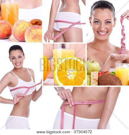 beautiful healthy lifestyle theme collage made from few photographs, weightloss