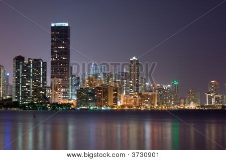 Downtown Miami Bayfront Skyline At Night