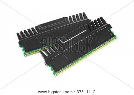 Two ram modules with heat sinks on white