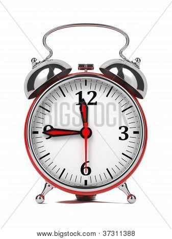 Red Old Style Alarm Clock Isolated on White.