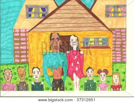 Poor Interracial Family Owning A New Home
