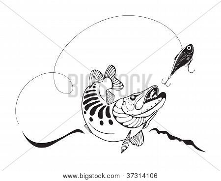 Hecht und Fishing Lure, Vektor-Illustration