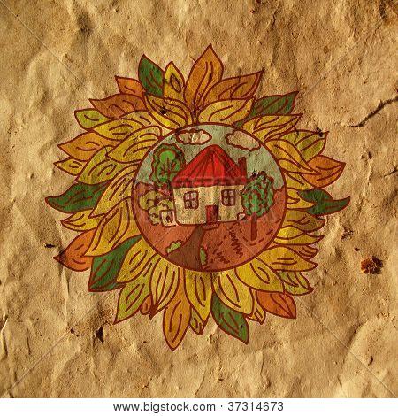 Farm sign organic background illustration