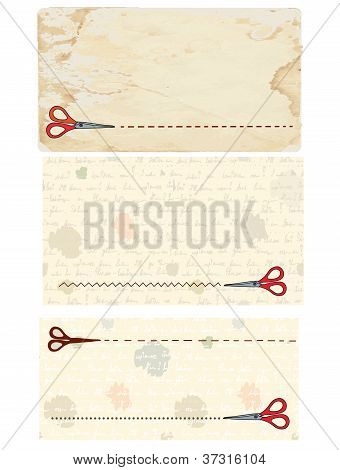 Scissors banners and coupons with old paper