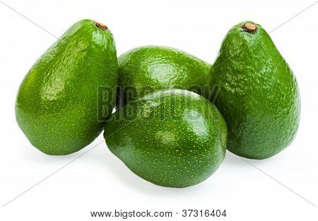 Group Avocado Isolated On A White Background