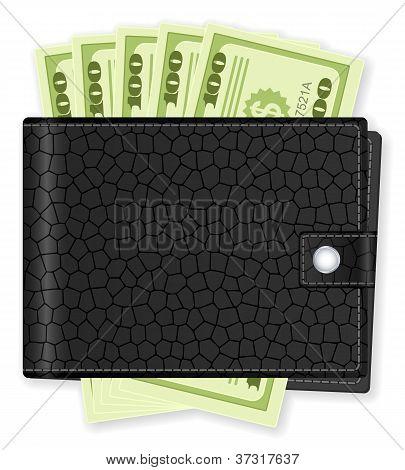 Brieftasche mit Dollar-banknote