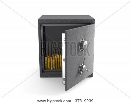 An Open Safe With Gold Coins