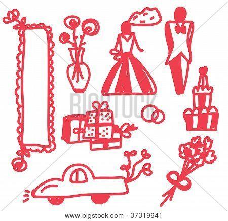 Wedding icons funny doodle set