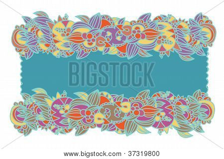 Floral ethnic frame hand-drawn design