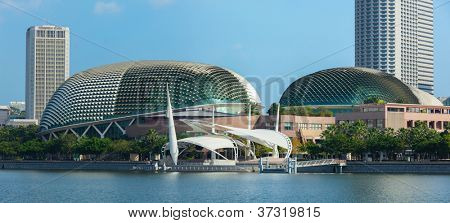 SINGAPORE - MAY 8: Esplanade Theatres on the Bay concert hall  (also nicknamed Durian) at Waterfront, Marina Bay on May 8, 2011 in Singapore. The Esplanade is one the world busiest arts centers