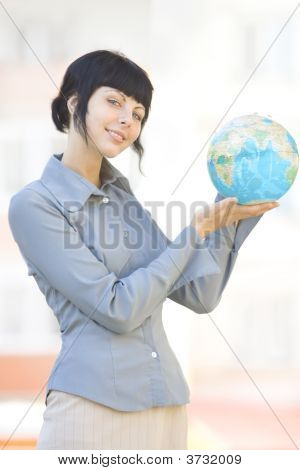 Smile Woman With Globe