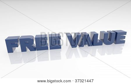 three dimensional text on a white back ground - free value