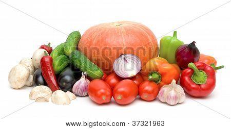Still Life Of Fresh Vegetables On White Background