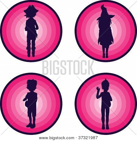 Badges with silhouettes of kids in halloween suits