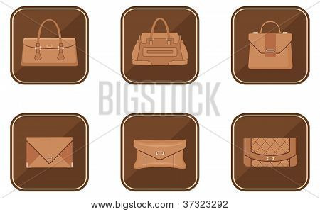 Set Of Fashion Icons With Bags