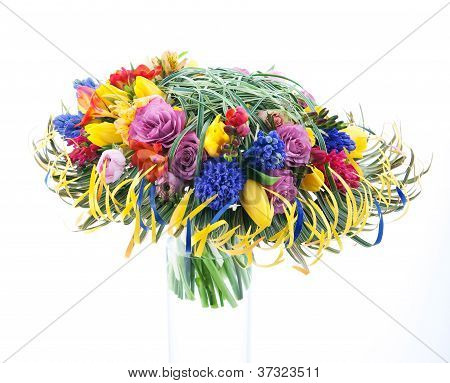 Colorful Branch Of Flowers Isolated On White Background