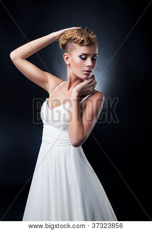 Portrait Of Romantic Blonde Young Pretty Bride. Studio Shot