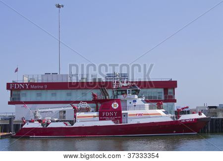 FDNY fire fighter boat in New York harbor