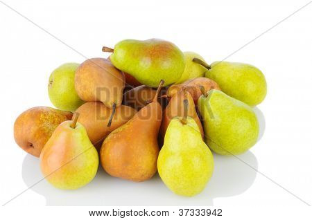 A pile of Bosc and Bartlett pears on a white background. Horizontal format with reflection.