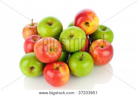 A pile of Gale and Granny Smith Apples on white with reflection. Horizontal format.