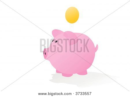 Piggy Bank With Blank Coin
