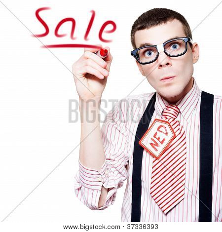Isolated Funny Nerd Advertising A Store Sale