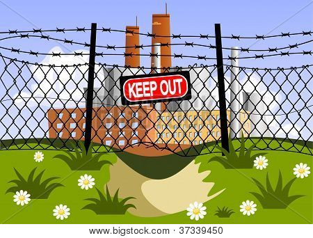 Factory And Wire Fence With Barbed Wires. Hole Under The Fence