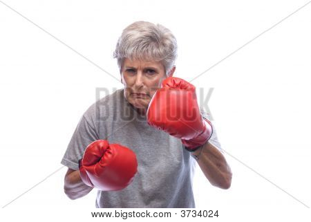 Grandmother With Boxing Gloves