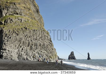 Basalt Rock At Volcanic Beach In Iceland