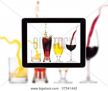 Collection Of Alcohol On A Digital Tablet Screen
