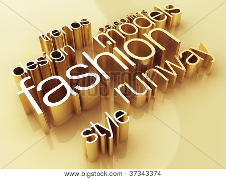 Fashion concept, a gold shiny metal, 3D rendering
