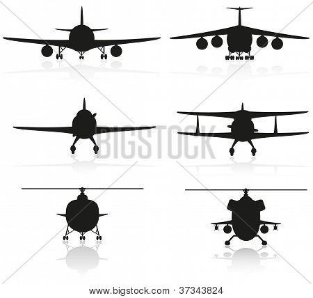 设置的图标飞机剪影和直升机矢量图