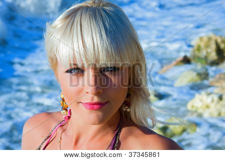 The Beautiful Girl Against The Sea