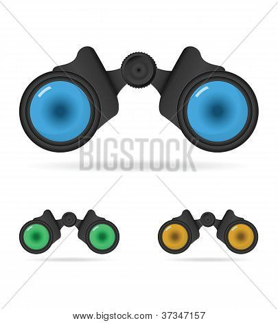 Set of binoculars icons on white background