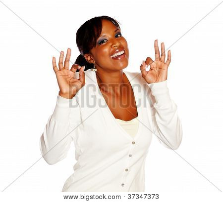 Smiling Woman Looking At You Saying Great Job