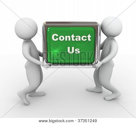 3D Men Holding  'contact Us' Button