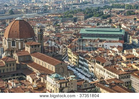 Florence Central Market From Top Of Duomo
