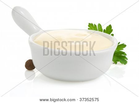 mayonnaise sauce and food ingredient isolated on white background