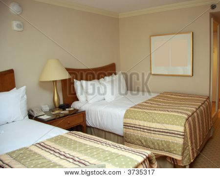 Two Beds Bedroom With Bedside Table
