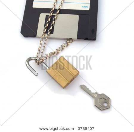 Floppy Disk With Chain Padlock And Key
