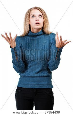 Praying girl isolated on white background