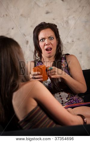 Shocked Woman With Friend