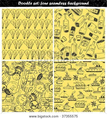 Doodles set - seamless background