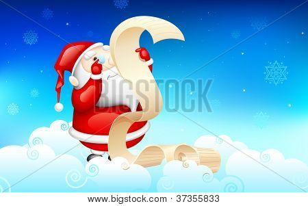 illustration of Santa Claus reading wish list for Christmas