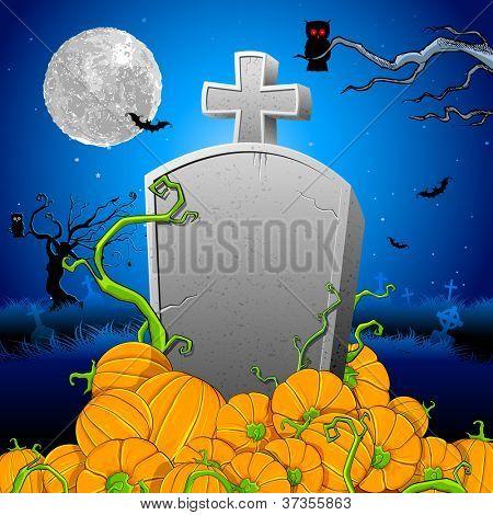 illustration of pumpkin around tomb stone in Halloween night