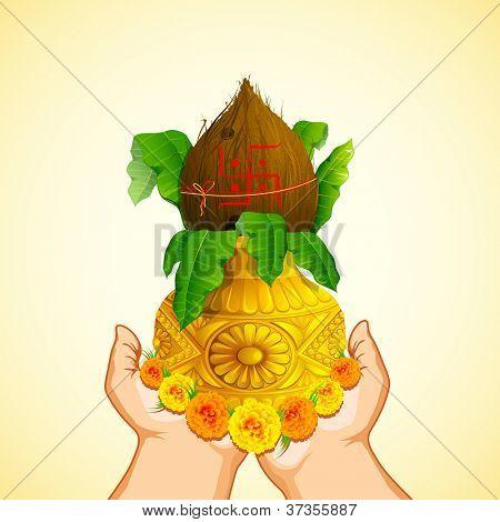 illustration of female hand holding golden Mangal Kalash for prayer