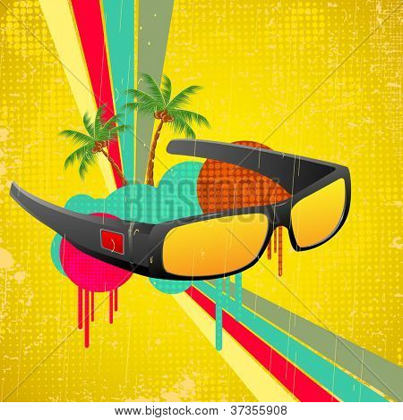 illustration of sun glasses on retro background